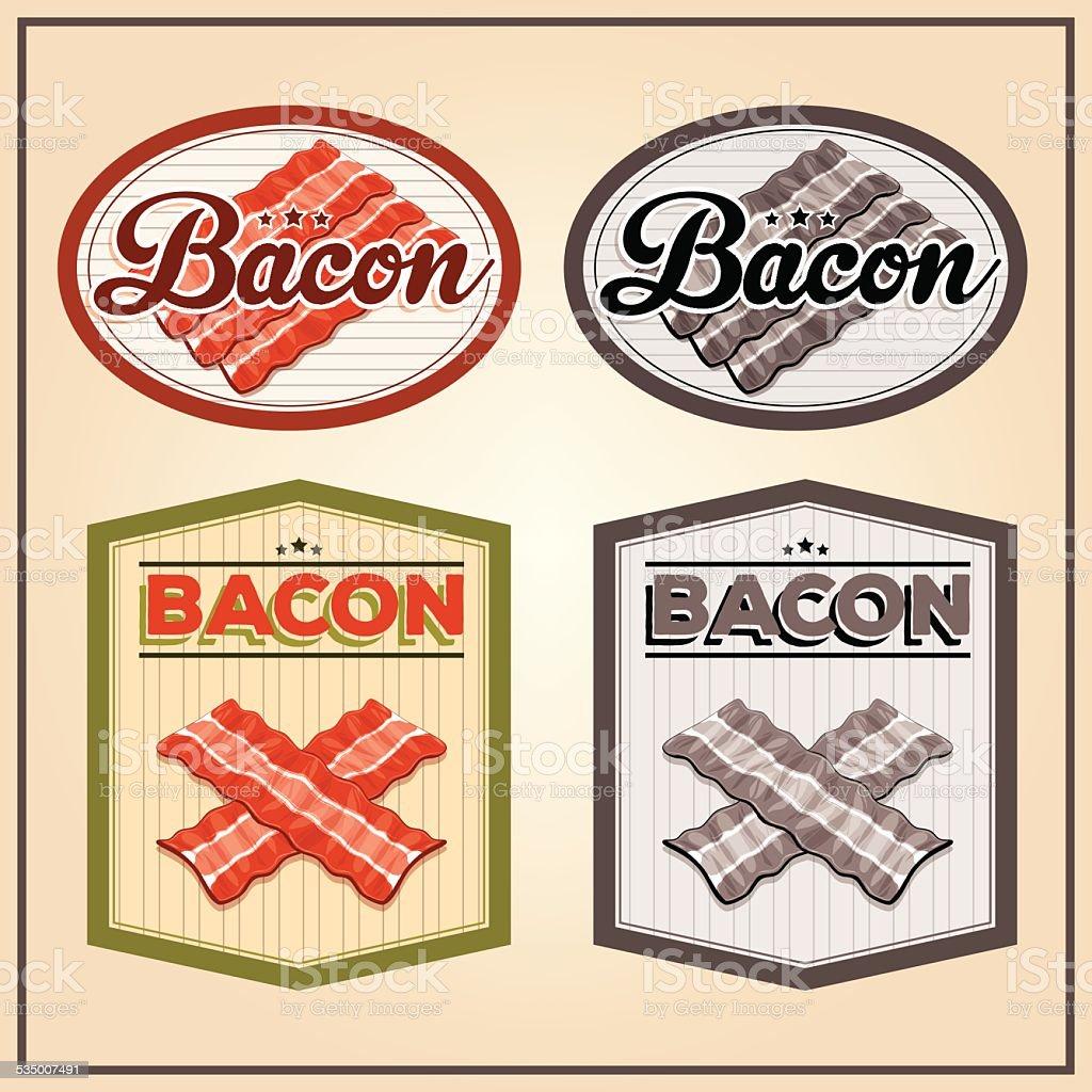 Vector bacon meat vintage labels vector art illustration