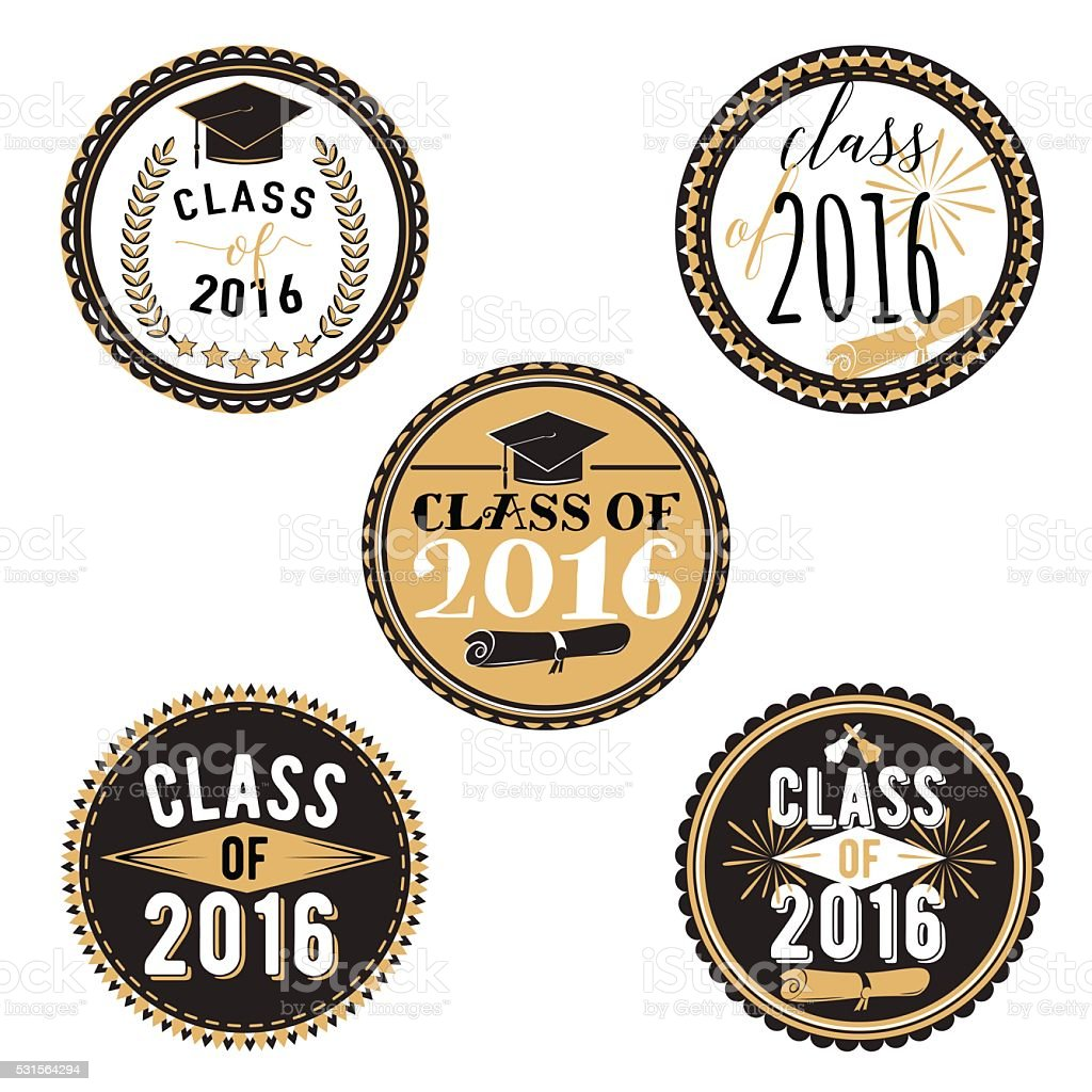 Vector badges for graduation event, party, high school or college vector art illustration