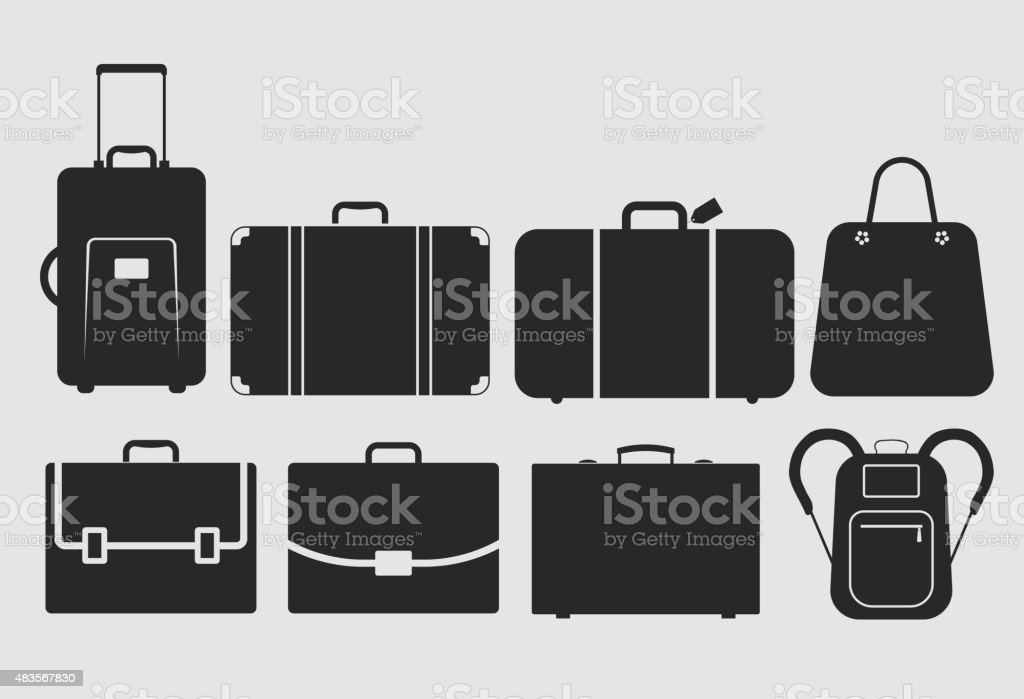 vector bag icons set vector art illustration