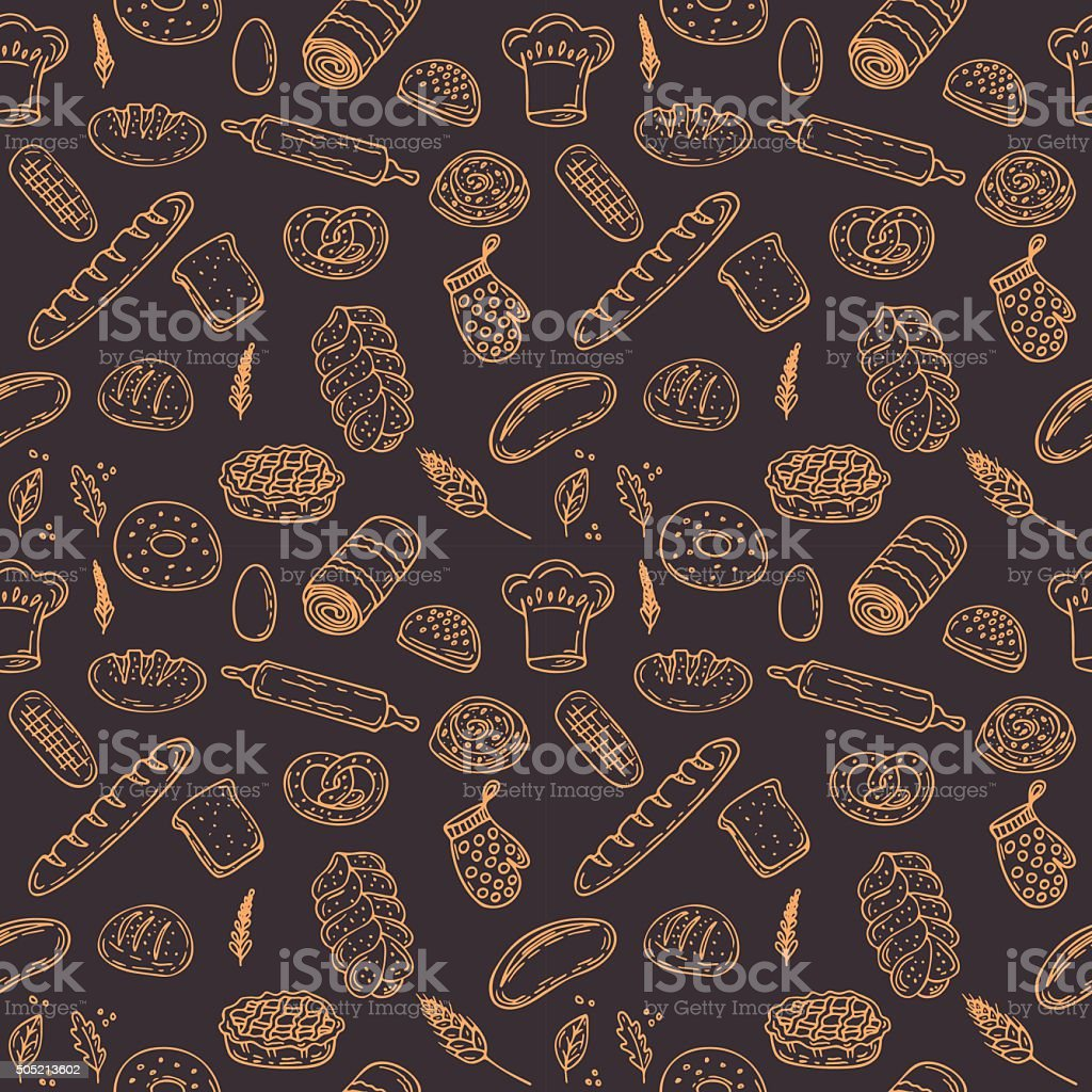 Vector bakery seamless pattern. Hand drawn collection vector art illustration