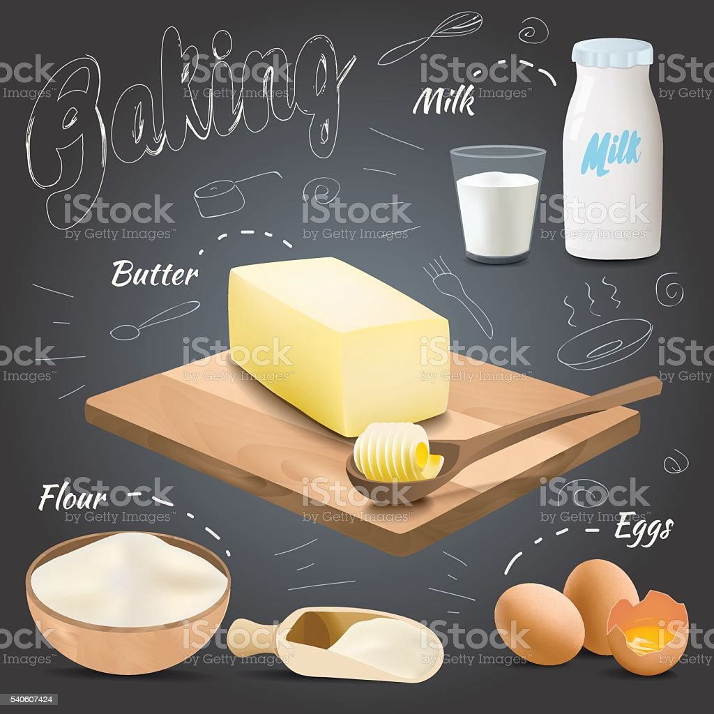 Vector baking ingredients design with butter, flour, eggs, milk vector art illustration