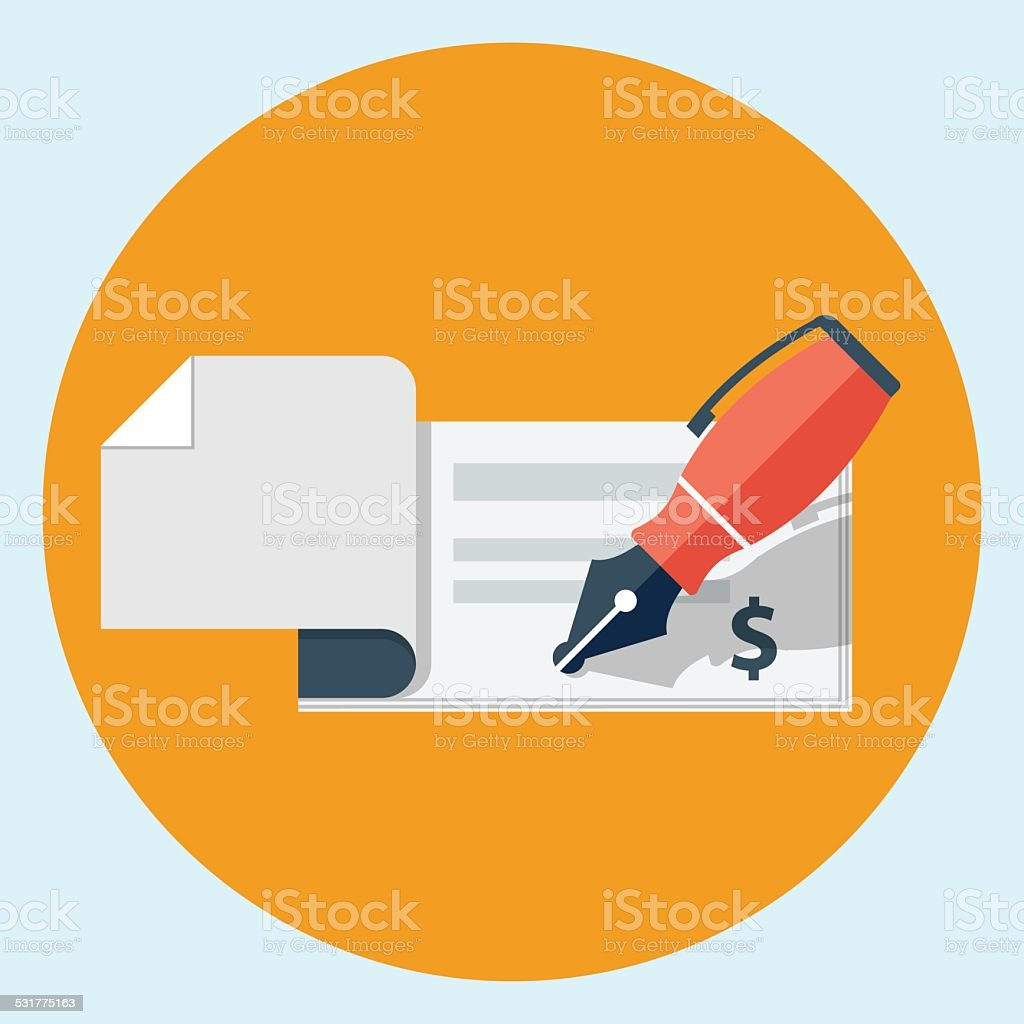 Vector bank check icon vector art illustration