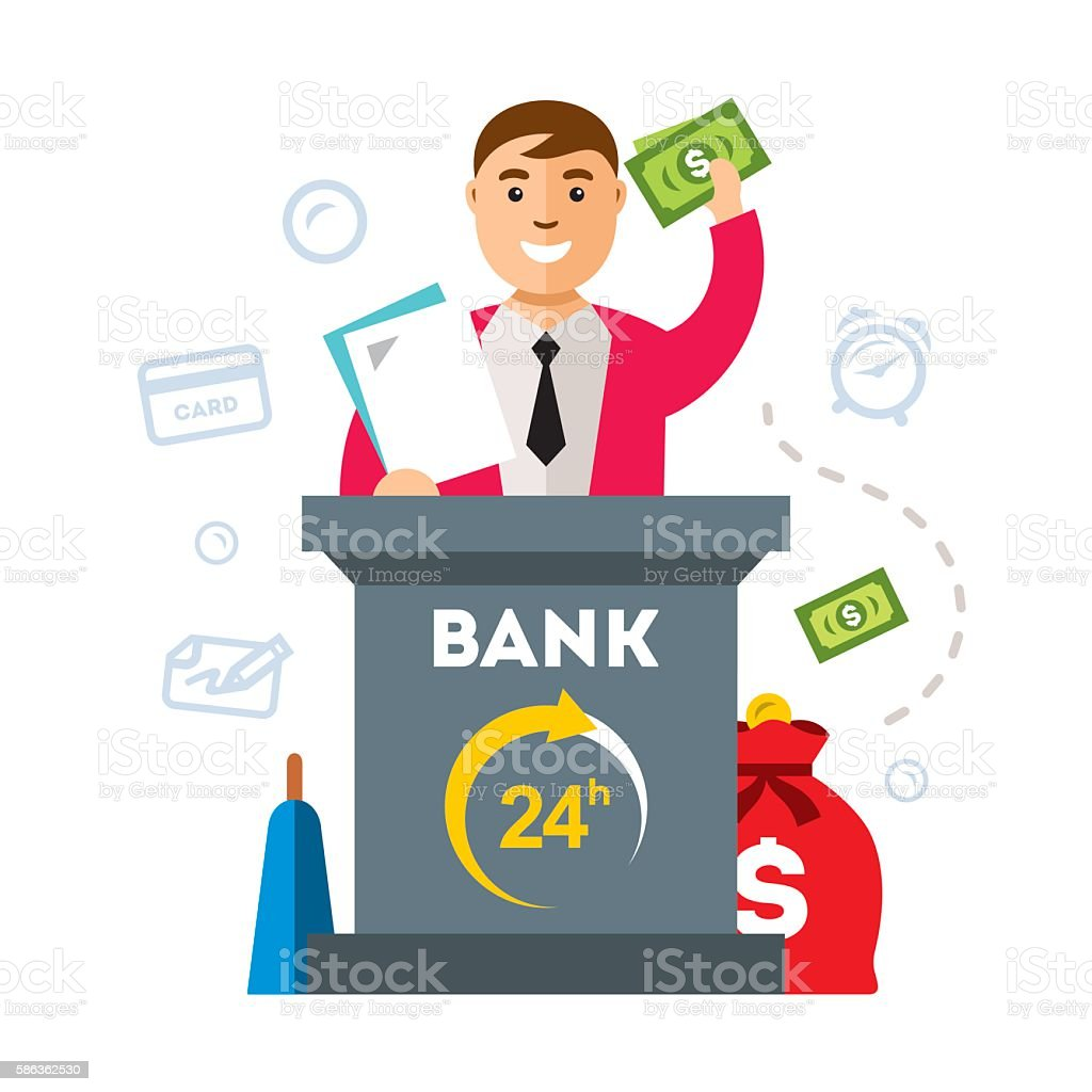 Vector Bank, Finance Agent. Flat style colorful Cartoon illustration. vector art illustration