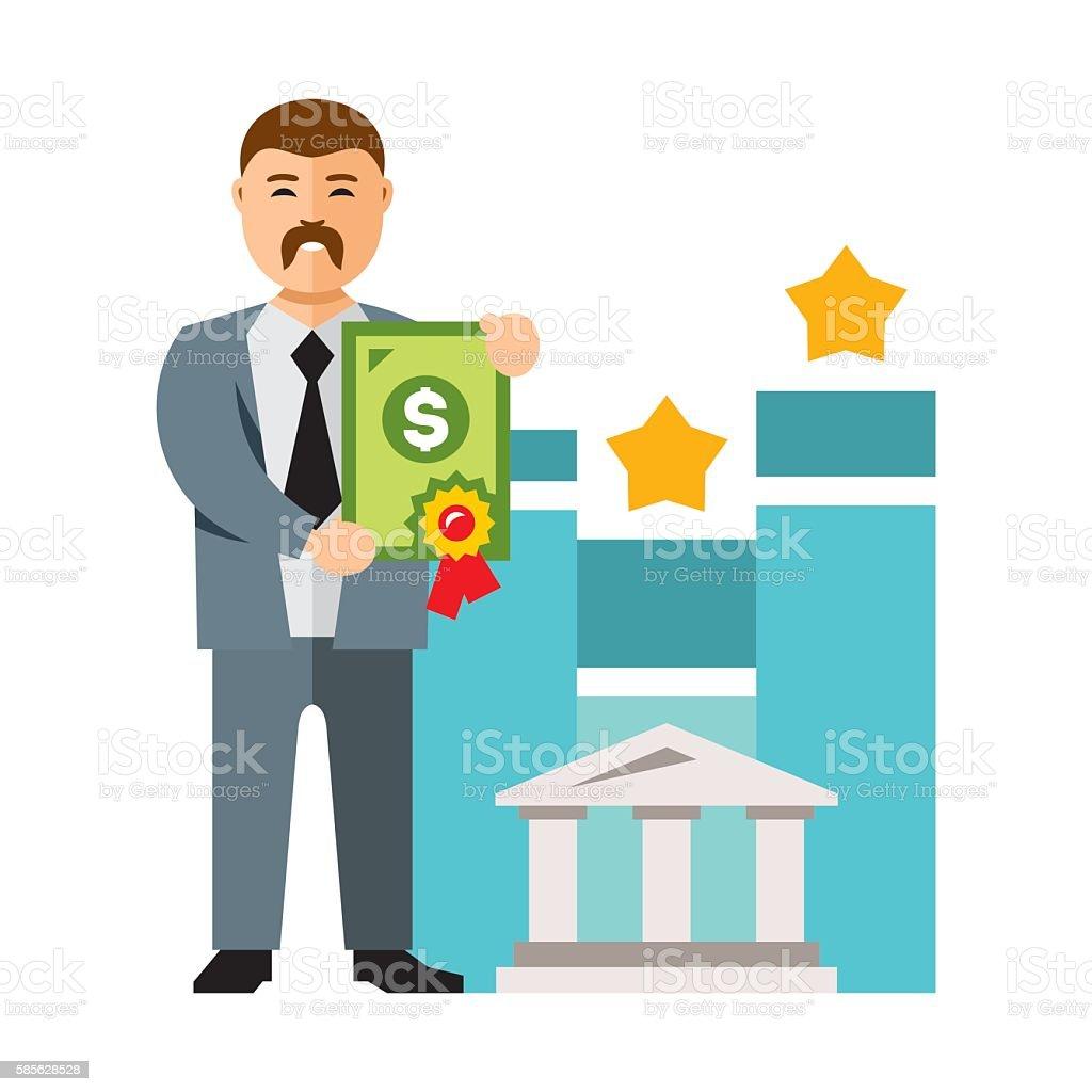 Vector Bank loan. Flat style colorful Cartoon illustration. vector art illustration