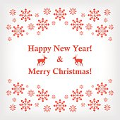 Vector banner or card with snowflakes and reindeer in a