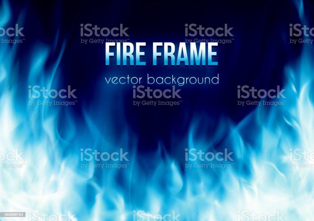 Vector banner with blue color burning fire frame vector art illustration