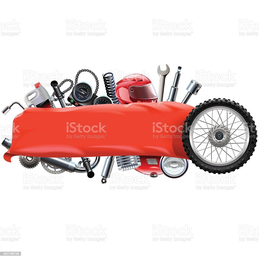 Vector Banner with Motorcycle Spares vector art illustration