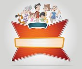Vector banners backgrounds with cartoon family.