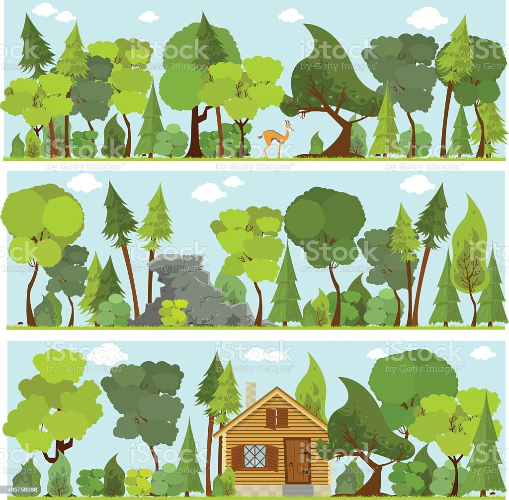 vector banners forest in the flat style vector art illustration