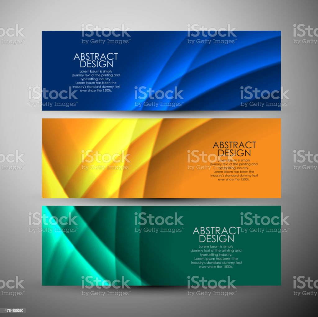 Vector banners set with curves background. vector art illustration