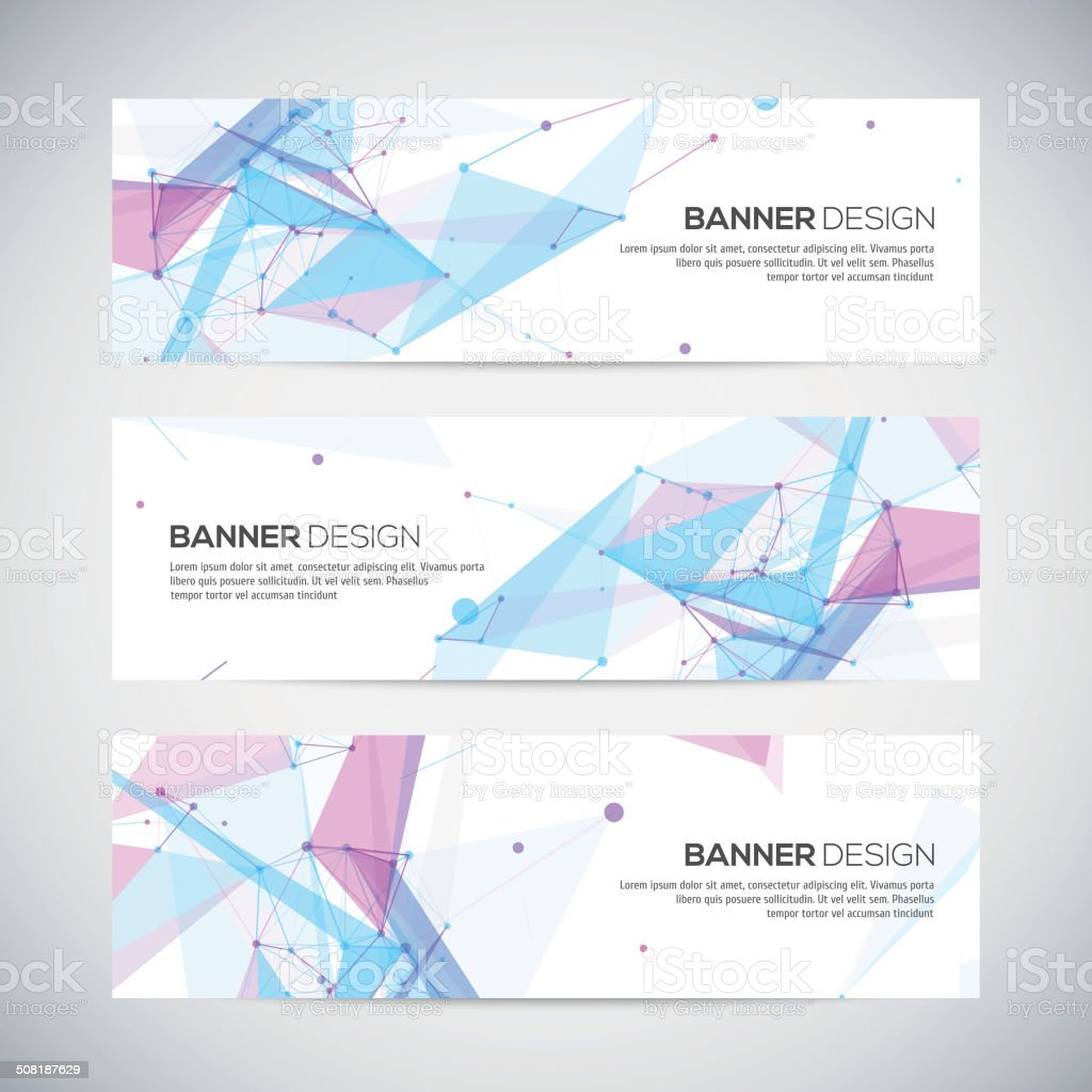 Vector banners set with polygonal abstract shapes vector art illustration