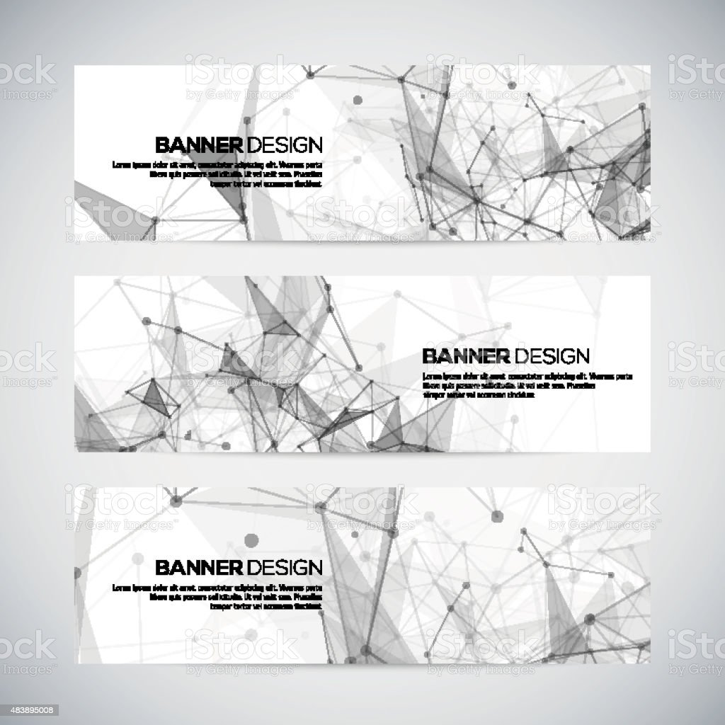 Vector banners set with polygonal abstract shapes, with circles, lines vector art illustration