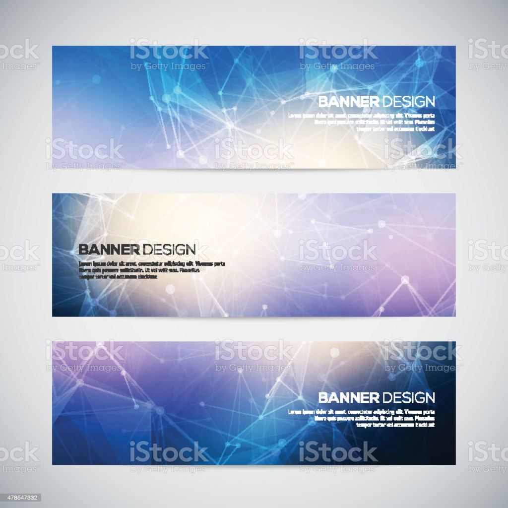 Vector banners set with polygonal abstract shapes, with circles vector art illustration