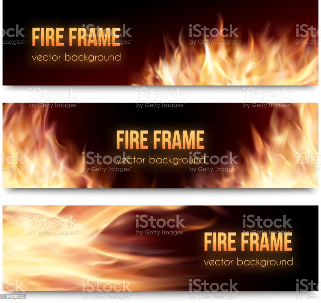 Vector banners set with realistic fire flames vector art illustration