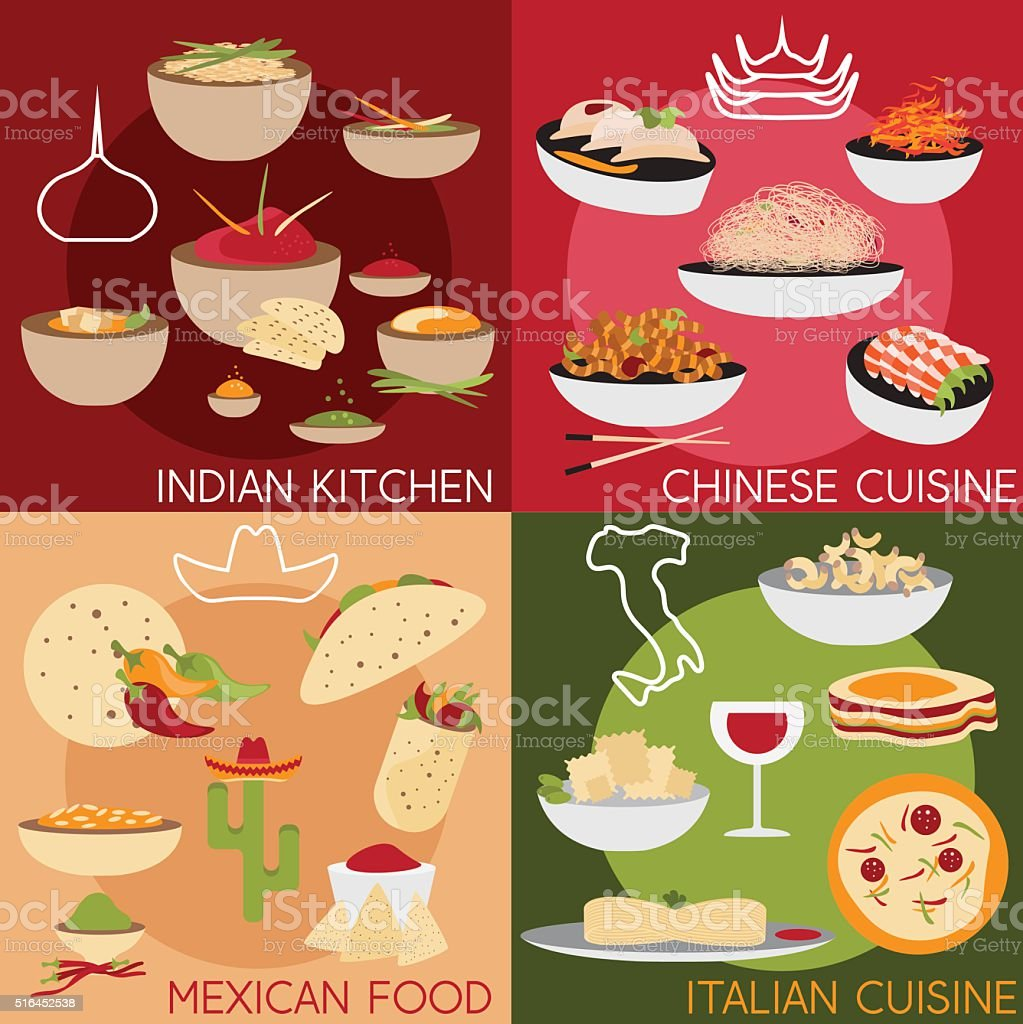 vector banners with italian,mexican chinese and indian food vector art illustration