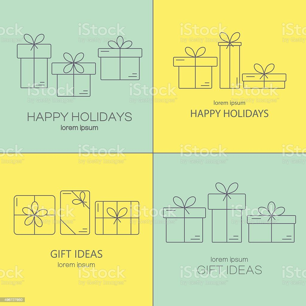 Vector banners with thin line icons of gift boxes. vector art illustration