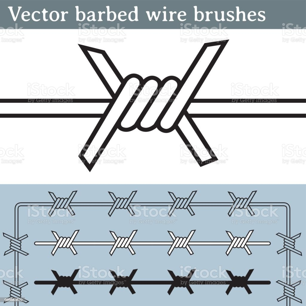 Barbed wire vector brush - Vector Barbed Wire Brushes Royalty Free Stock Vector Art