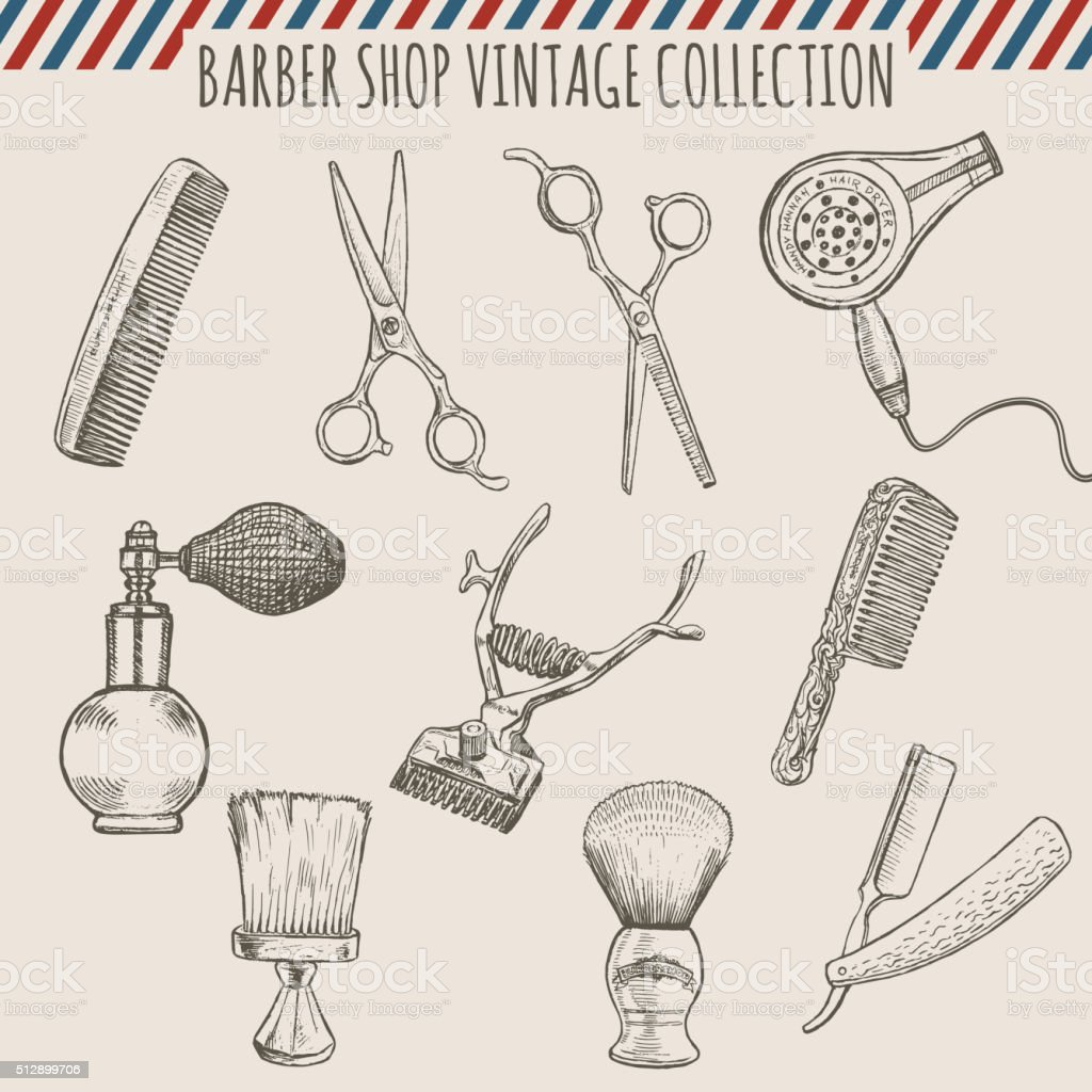 Vector barber shop vintage tools collection.  Pencil hand drawn illustration vector art illustration