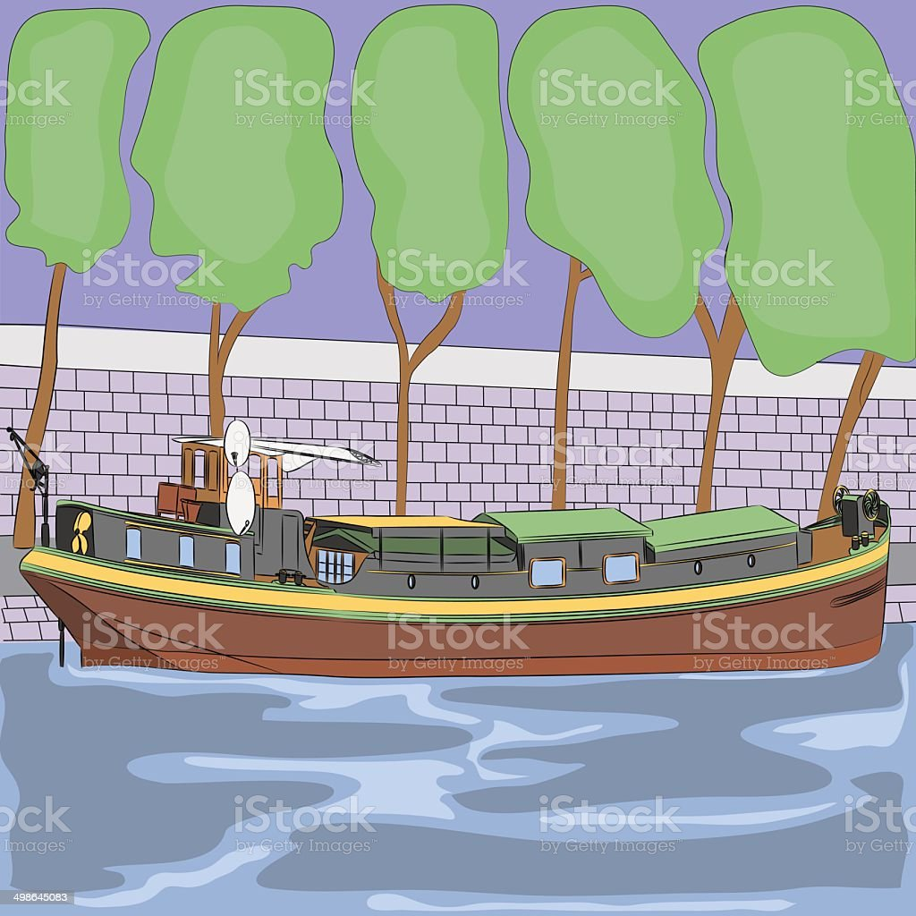 vector barge on the River Seine vector art illustration
