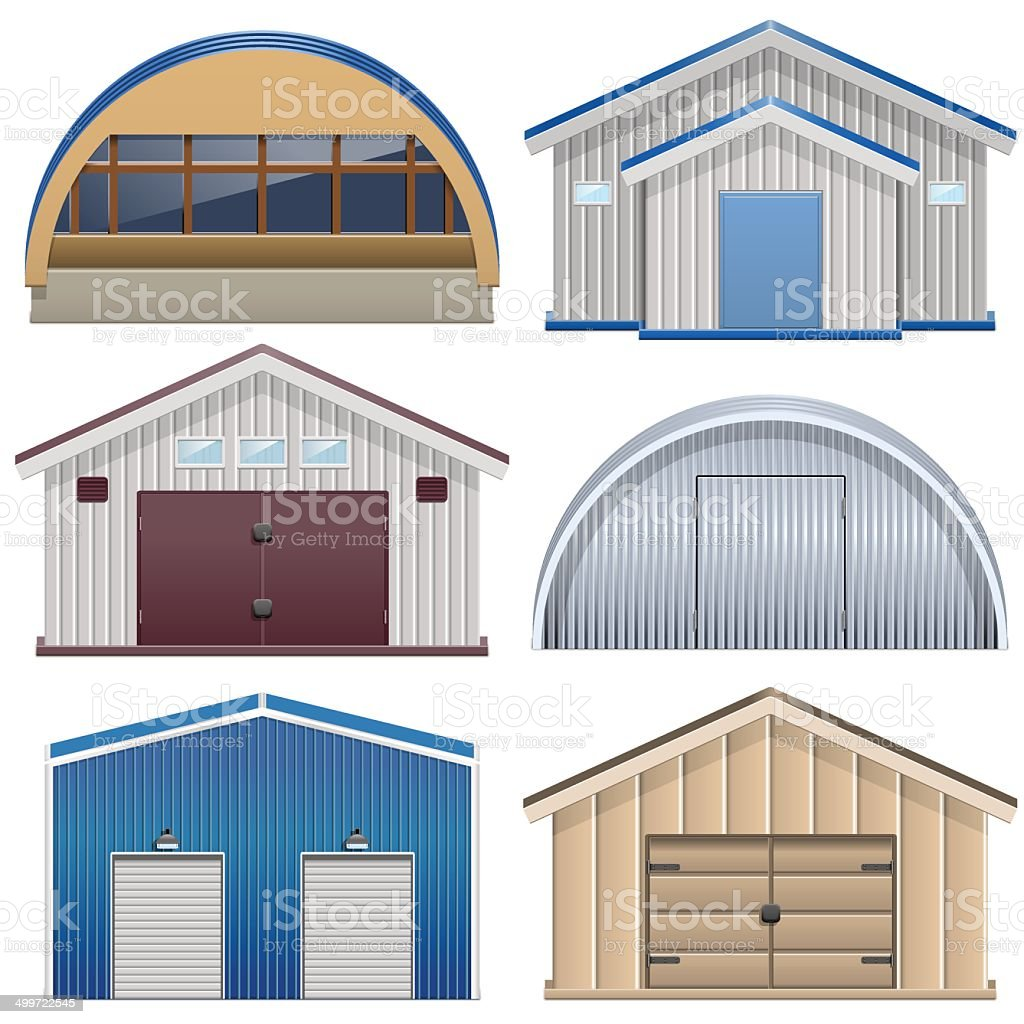 Vector Barns vector art illustration