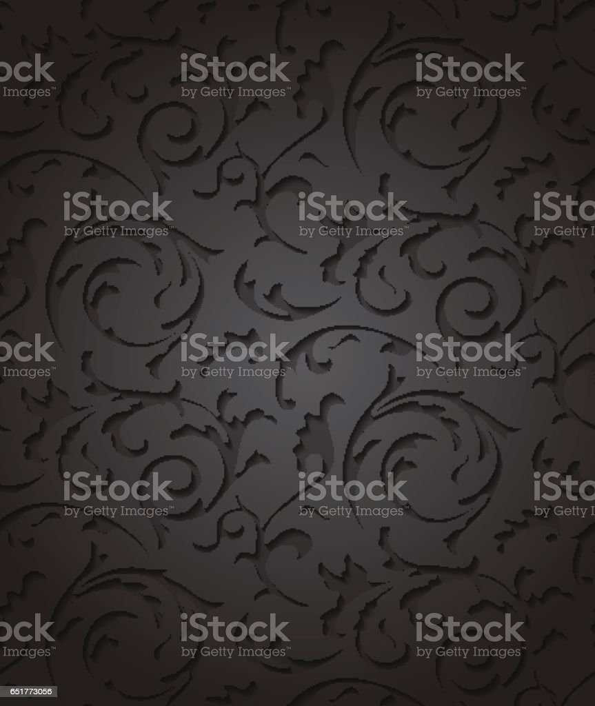 vector barroco damasco elegante fondo negro elemento de floral patrn oscuro de lujo para envolver