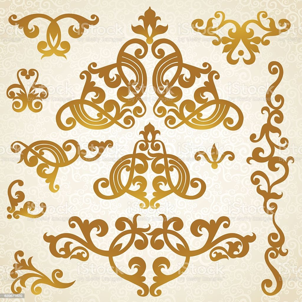 Baroque Design Style Vector Of A Gold Lace Pattern Or