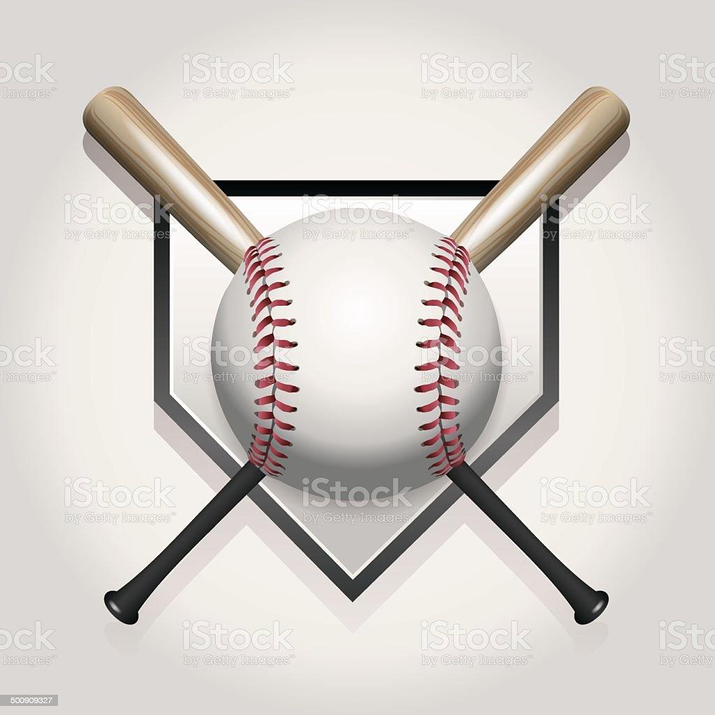 Vector Baseball, Bat, Homeplate Illustration vector art illustration