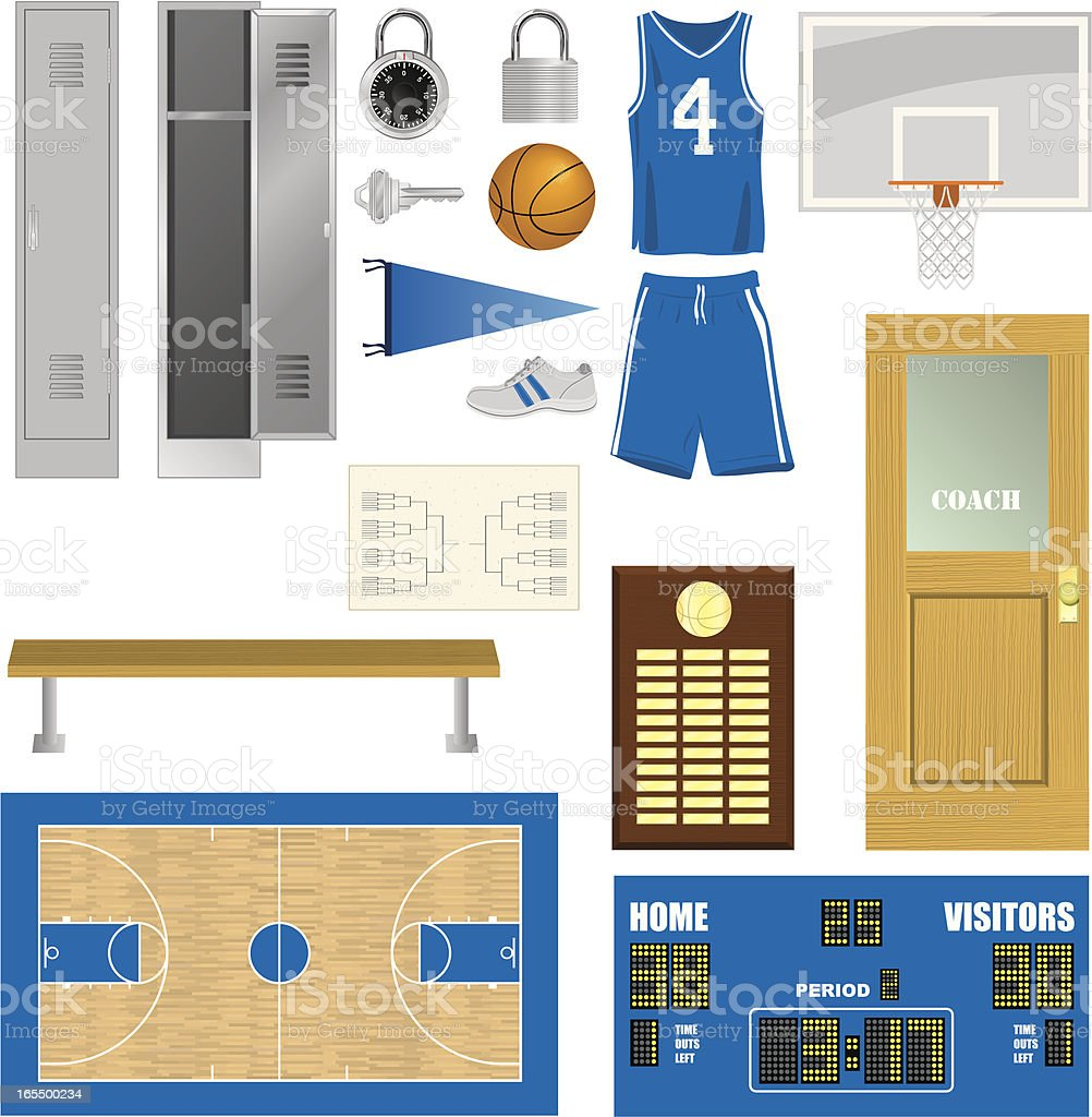Vector Basketball Components vector art illustration