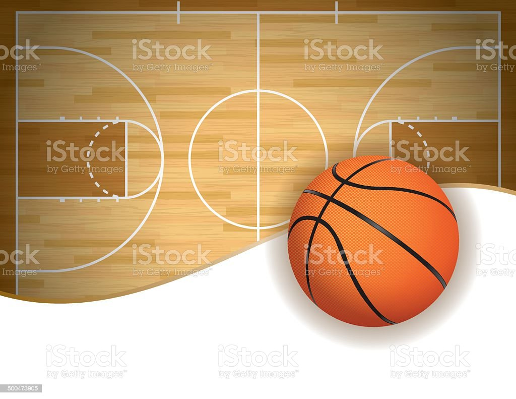 Vector Basketball Court and Ball Background vector art illustration