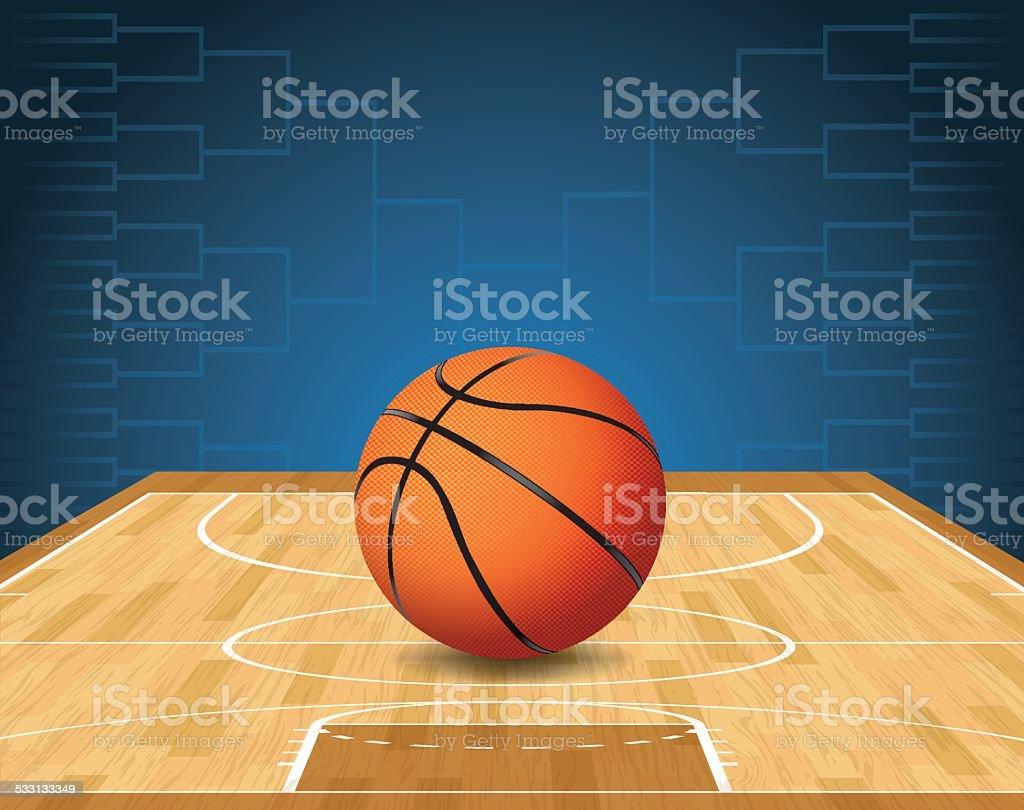 Vector Basketball Court and Ball Tournament Illustration vector art illustration