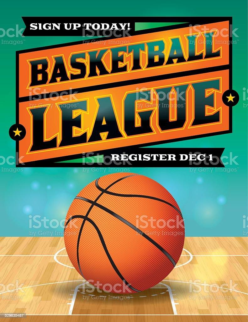 Vector Basketball League Flyer Illustration vector art illustration