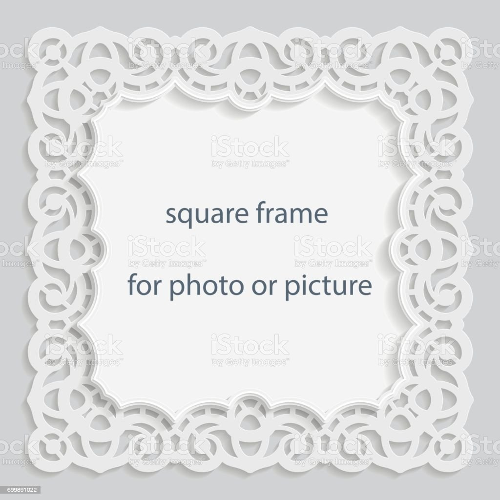 3D Vector bas-relief square frame for photo or picture, vintage vignette with openwork border,  festive pattern, gift template,  vector. vector art illustration