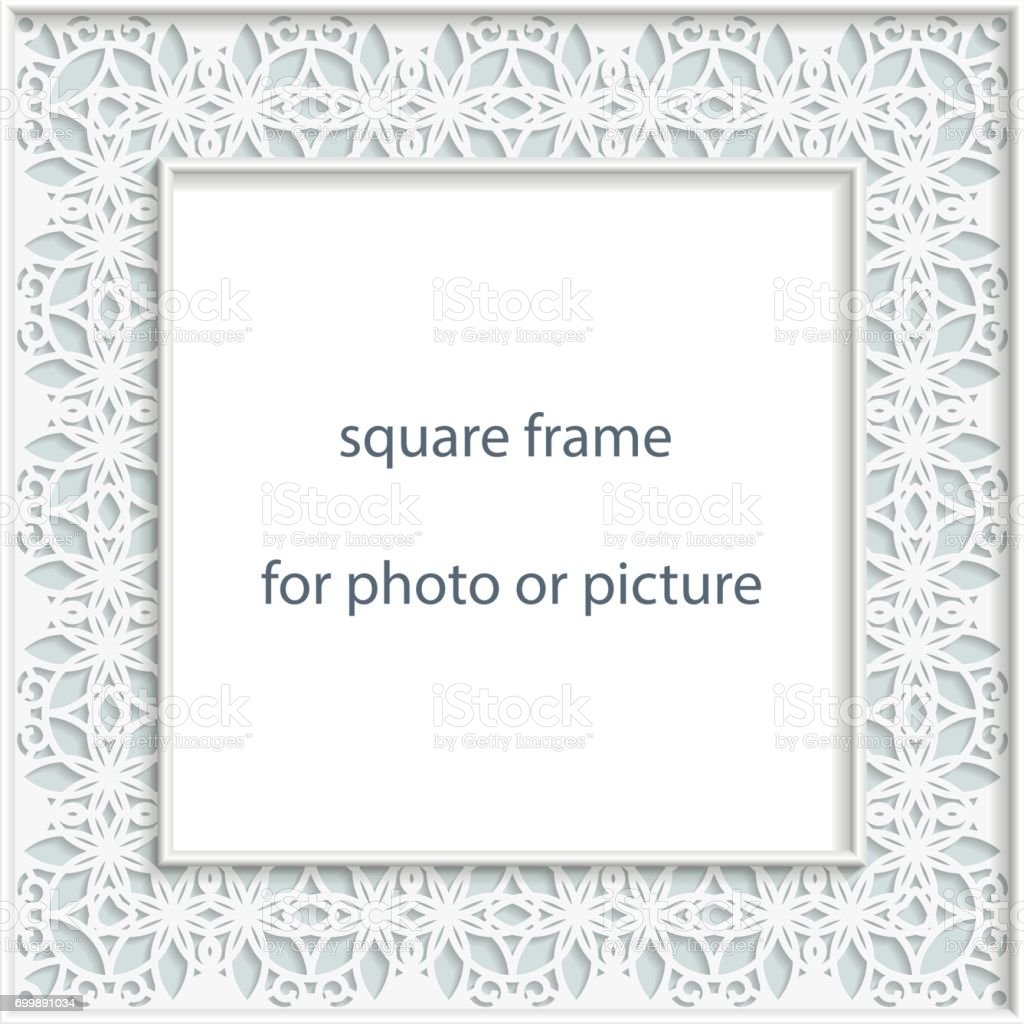 3D Vector bas-relief square frame for photo or picture, vintage vignette with openwork border,  festive pattern, gift template. vector art illustration