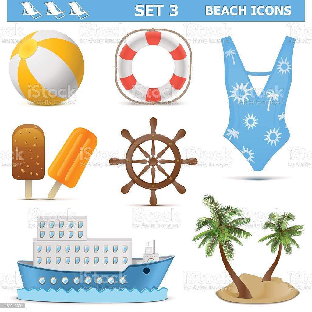 Vector Beach Icons Set 3 royalty-free stock vector art
