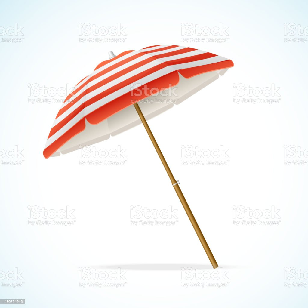 Vector Beach Umbrella Red and White vector art illustration