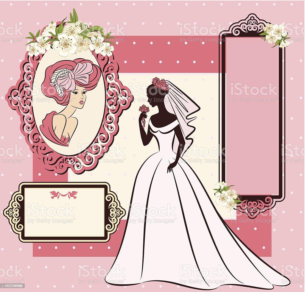 Vector beautiful bride on retro background royalty-free stock vector art