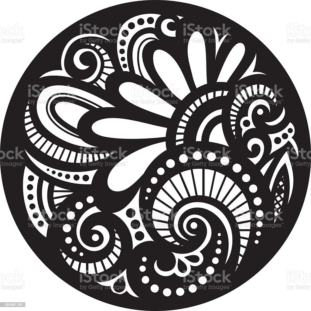 Vector Beautiful Deco Black Mandala vector art illustration