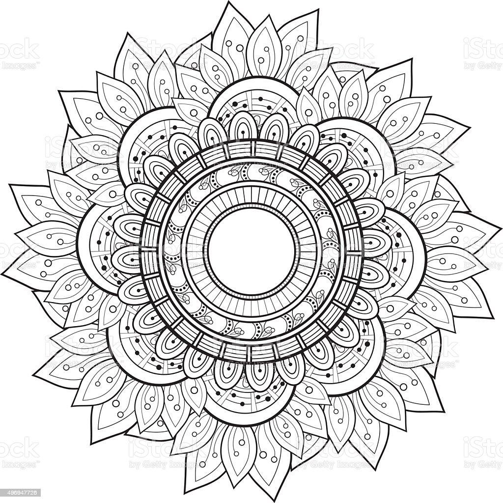 Vector Beautiful Deco Black Mandala vector art illustration