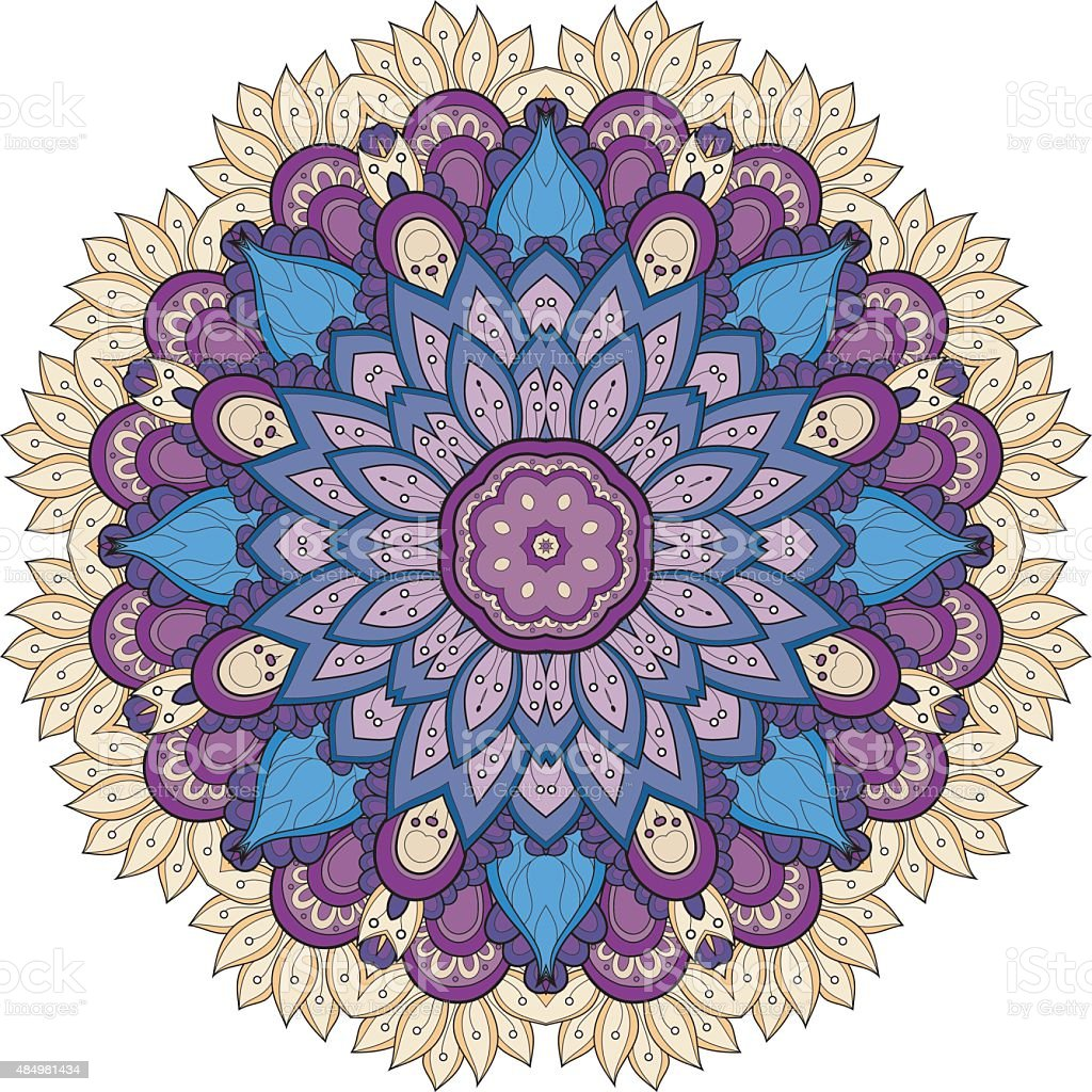 Vector Beautiful Deco Colored Mandala vector art illustration
