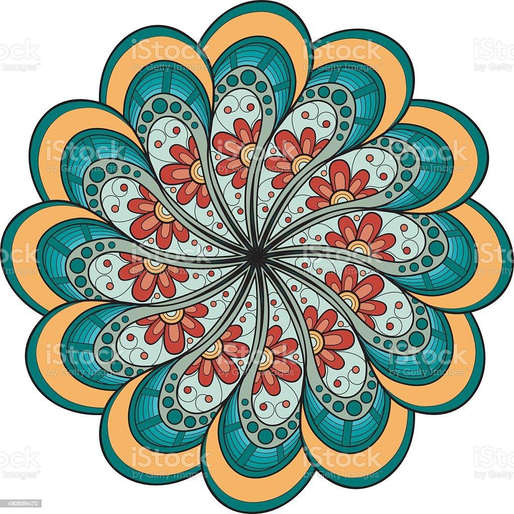 vector art d co mandala couleur stock vecteur libres de droits 490859420 istock. Black Bedroom Furniture Sets. Home Design Ideas