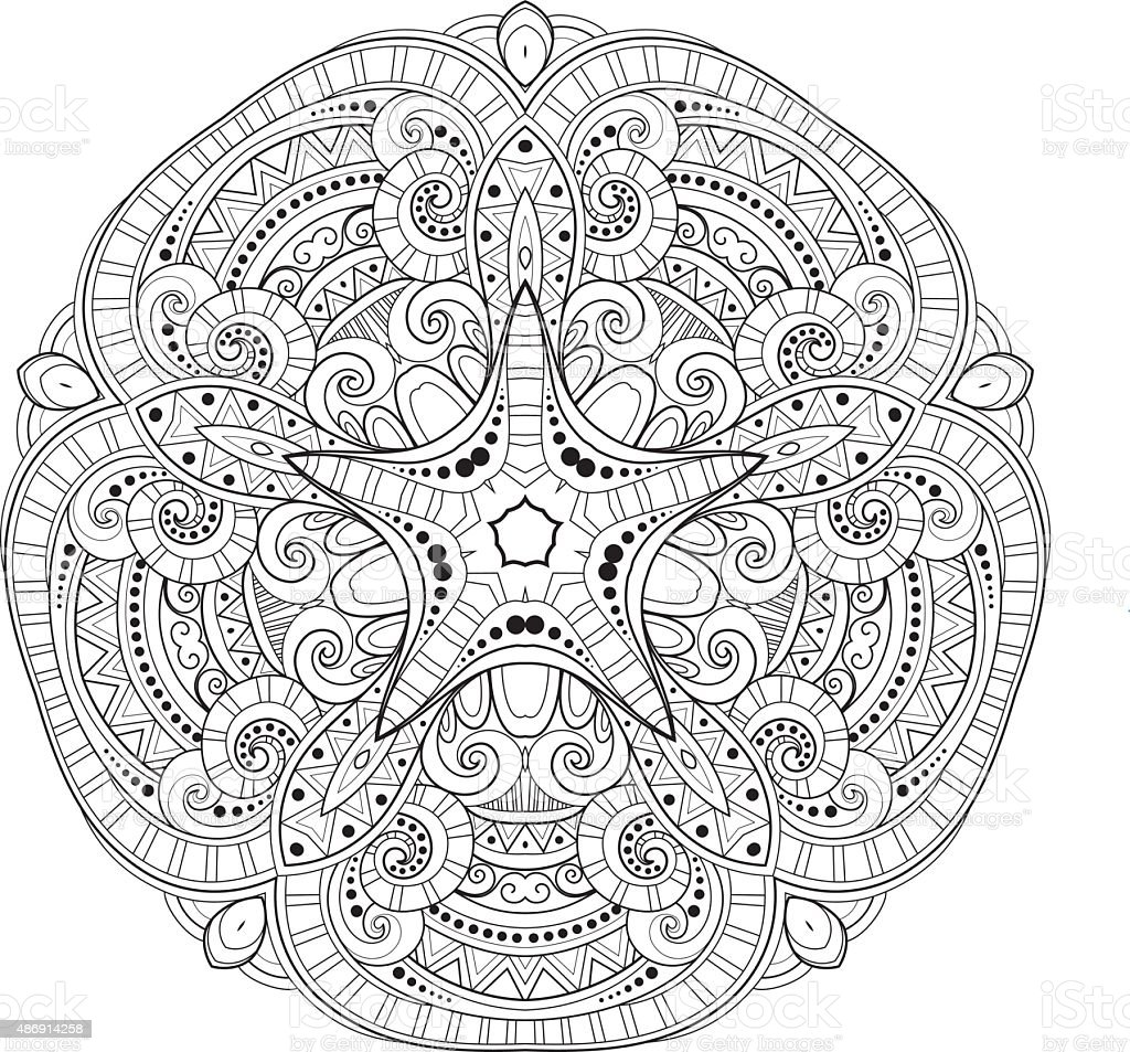 Vector Beautiful Deco Monochrome Contour Star vector art illustration