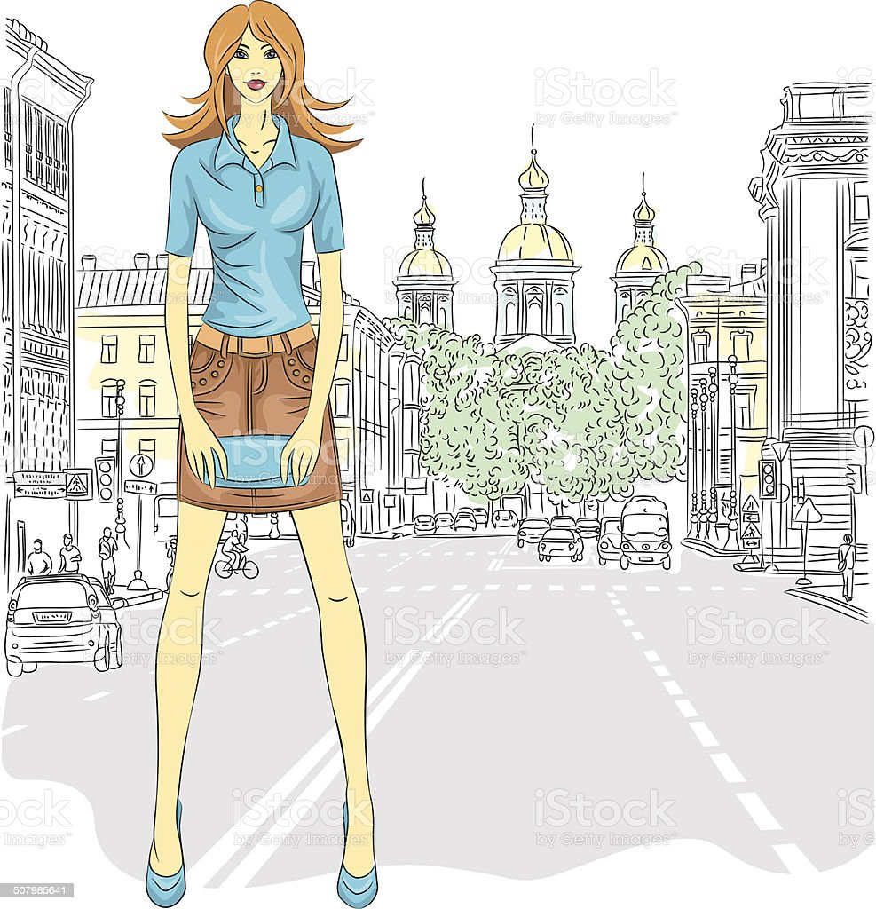 Vector beautiful fashion girl on the street in St. Petersburg royalty-free stock vector art