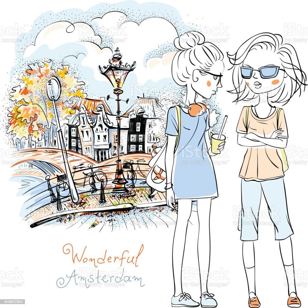 Vector beautiful fashion girls in Amsterdam vector art illustration