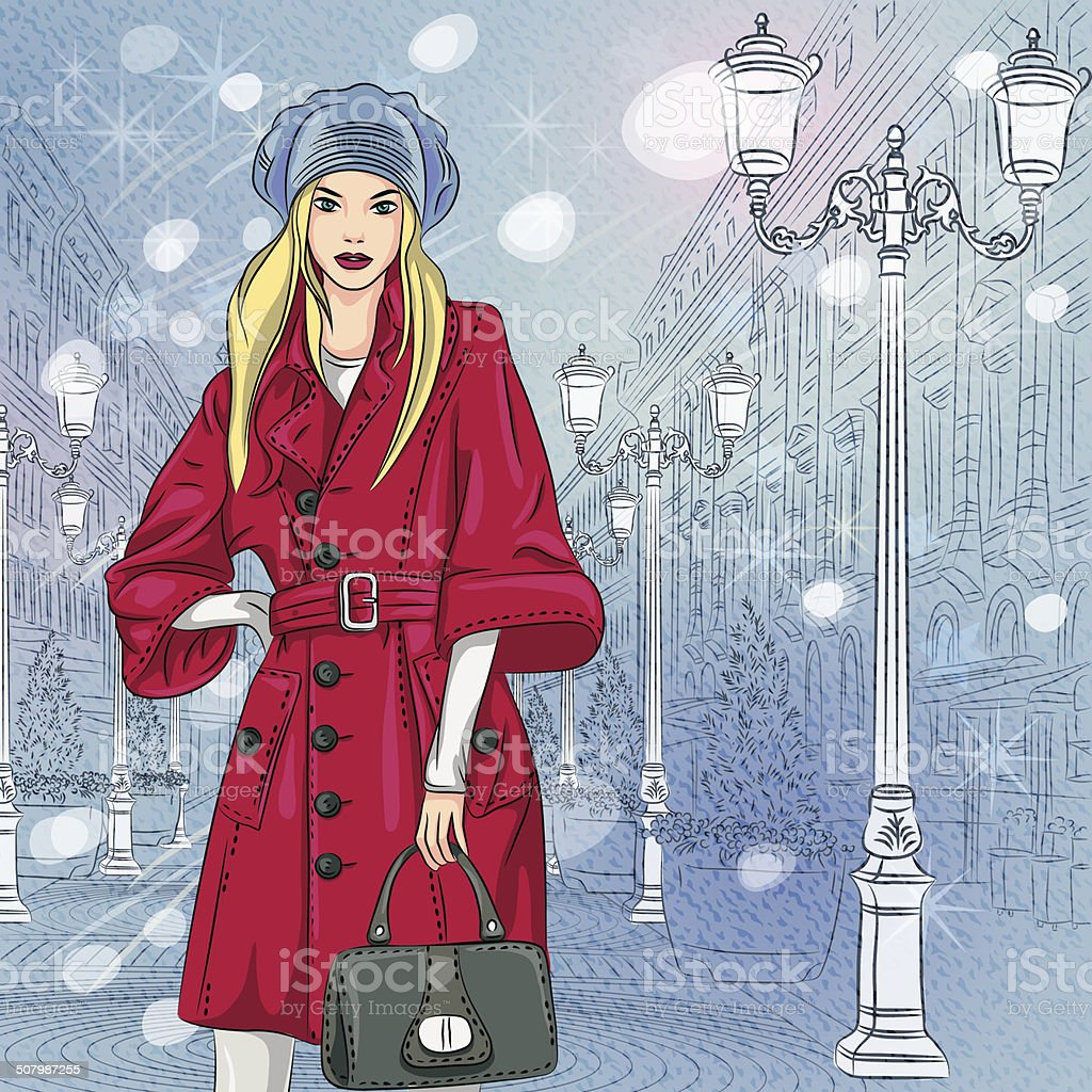 Vector beautiful fashionable girl on the Christmas Cityscape vector art illustration