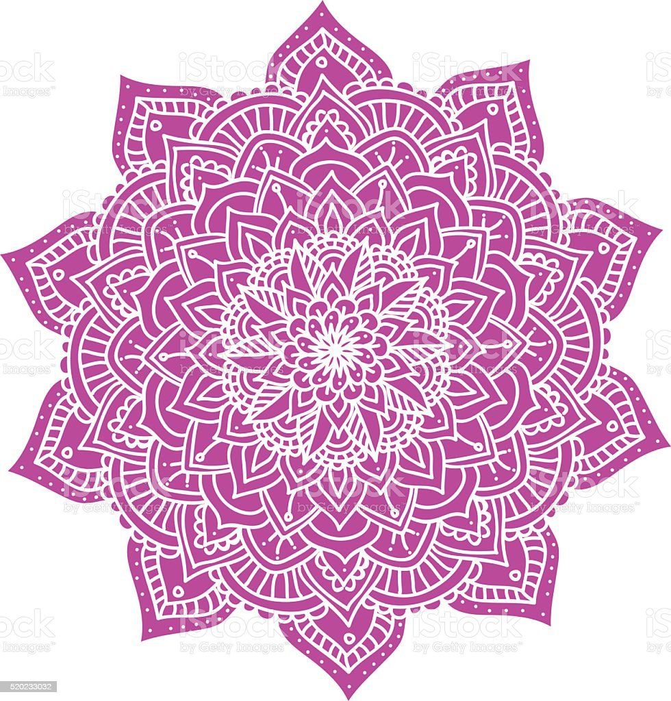 Vector Beautiful Handdrawn Mandala, Patterned Design Element vector art illustration