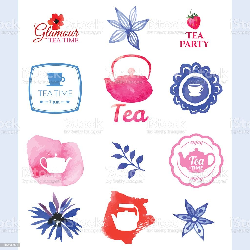 Vector beautiful illustration with teapots, logo & decorative. vector art illustration