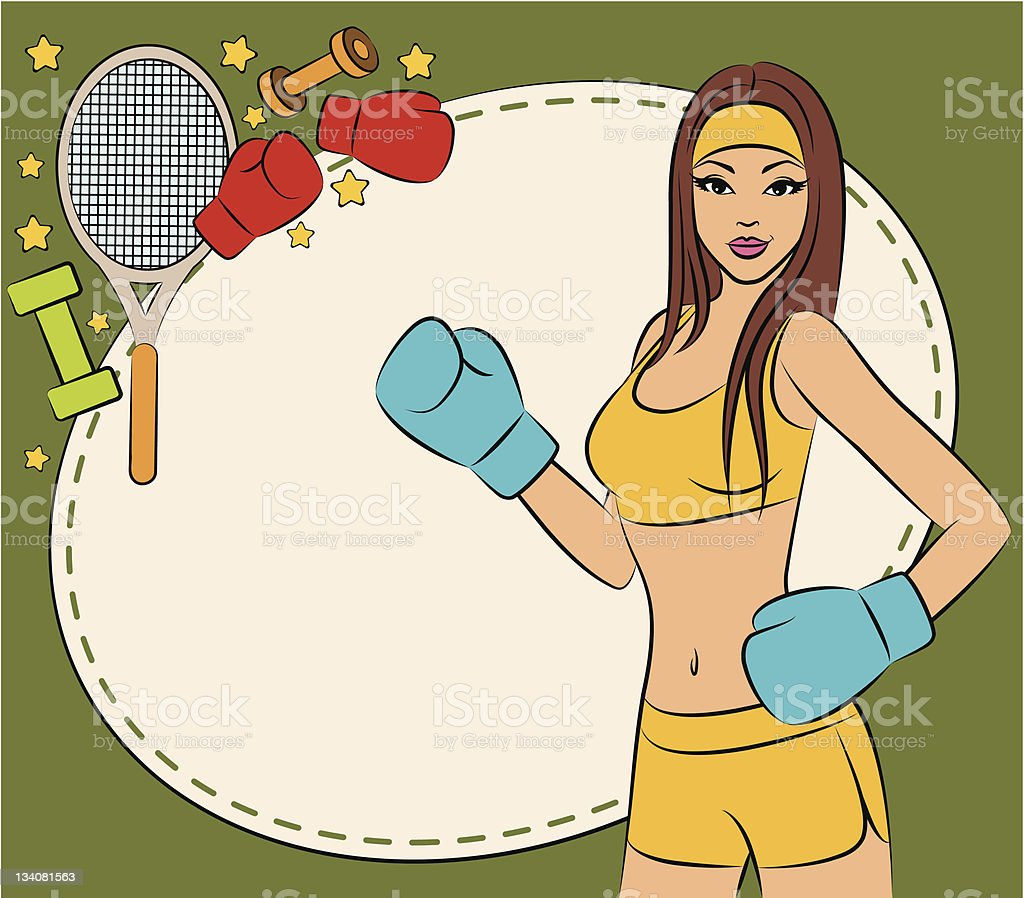Vector beautiful woman during fitness time and boxing vector art illustration