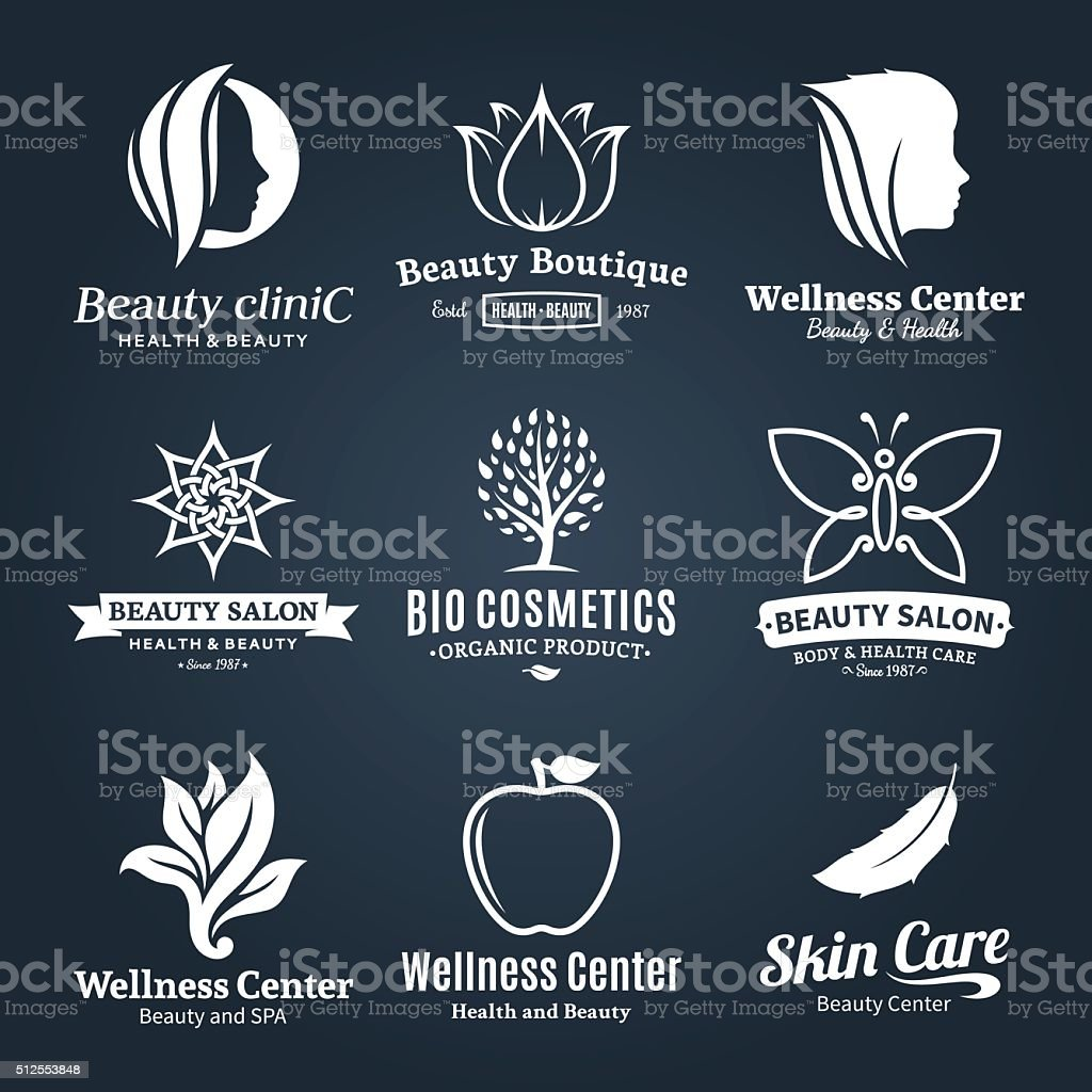 Vector beauty and health labels, icons and design elements vector art illustration