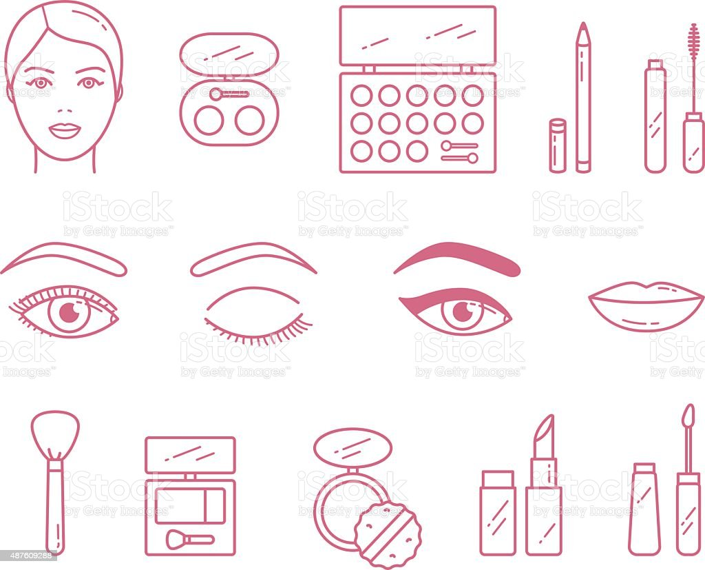 Vector Beauty Make Up Cosmetics icon set vector art illustration