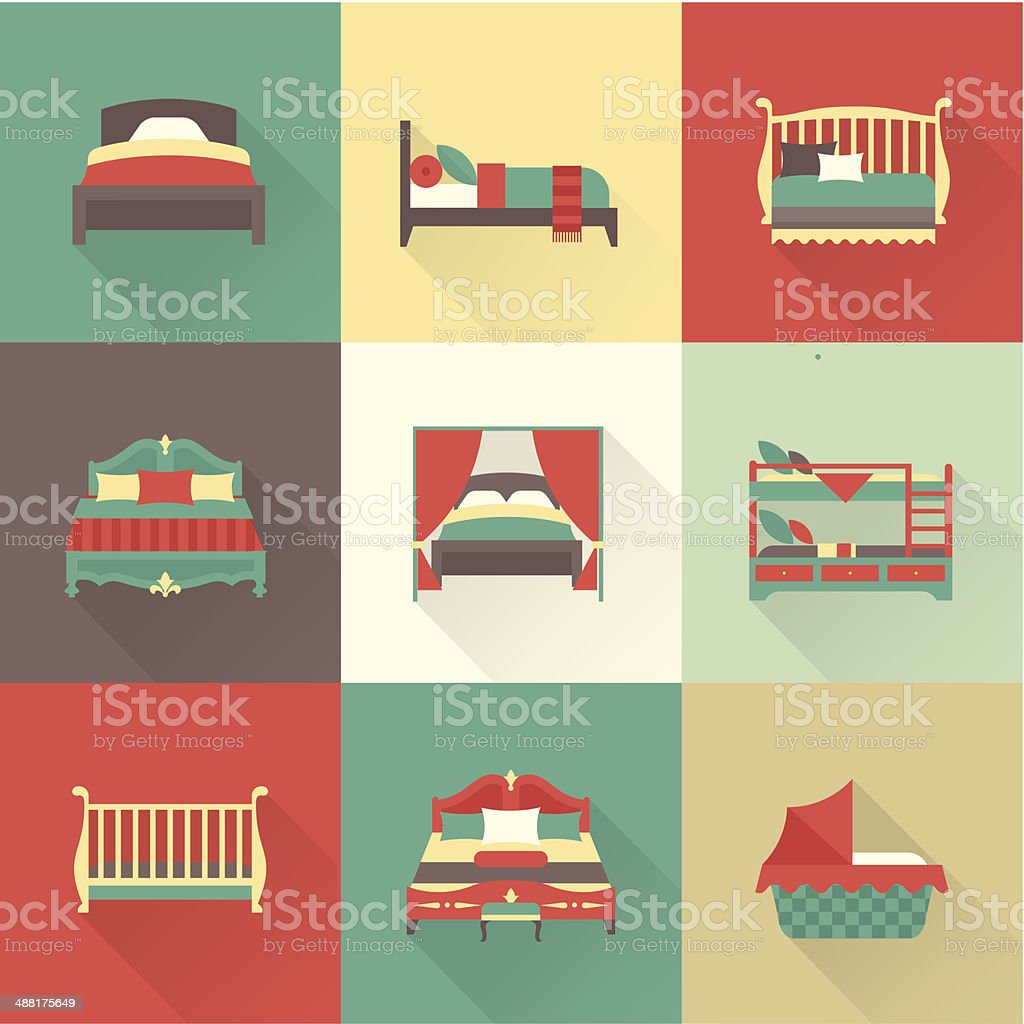 Vector bed icon set vector art illustration